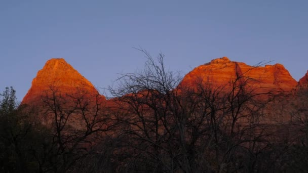 A Red Rocks Of The Zion Park Are Bathed In Sun At Sunset