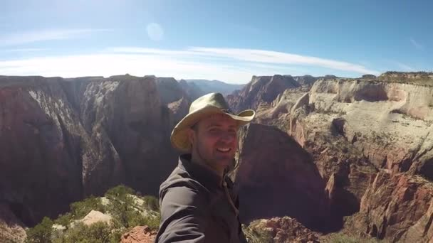 Travel Tourist Man Taking Selfie Video Hiking In Zion Park Mountains Canyon