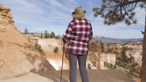 A Woman Stands At The Edge Of The Rock And Looks Forward At The Bryce Canyon