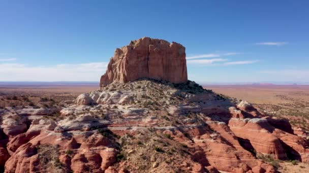 Aerial High Monument Butte Stone Massive Of Red Beige Rock In Desert Western Usa