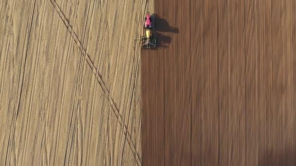 Traktor s přívěsem Rostlinná semena obilí Plodiny na zemědělském poli na jaře