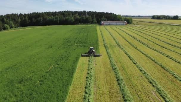 Pracovník v traktoru sekání zelené trávy pro seno nebo hospodářských zvířat krmivo letecký pohled