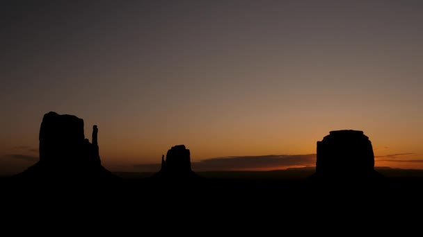 Amazing Timelapse At Sunrise In Monument Valley With High Silhouette Rock Buttes