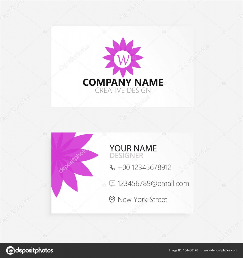 simple abstract flower business card — Stock Vector © creativeslide ...