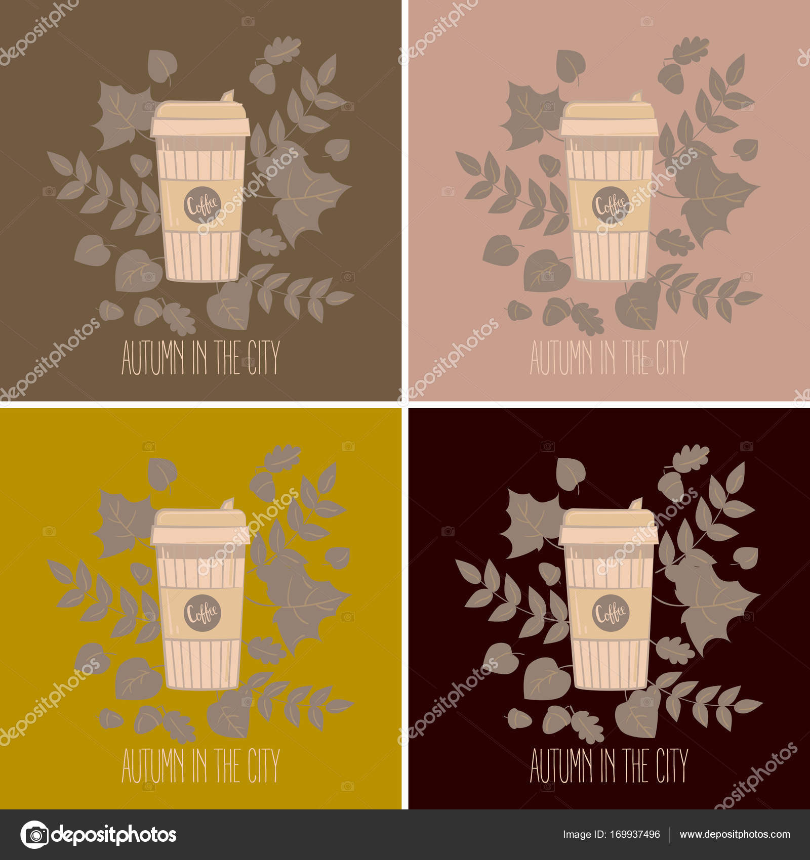 cb9ebb2bd31 Set of paper recyclable coffee cups in colours. Mug vector illustration. Coffee  cup in autumn leaves. Autumn in the city text.