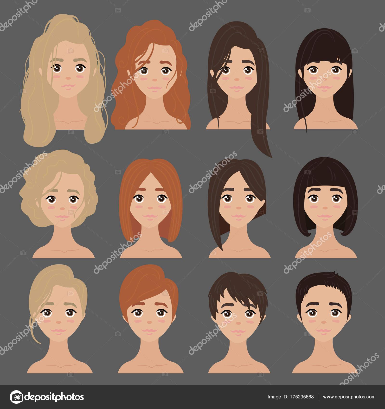 Bela Coleção De Corte De Cabelo Penteado Feminino Vetor De