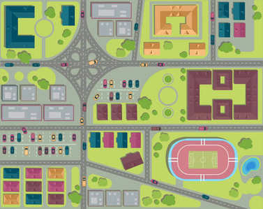 Urban city top view. Streets, houses and buildings, roads, crossroads, park, parking and stadium. View from above Vector illustration clip art vector