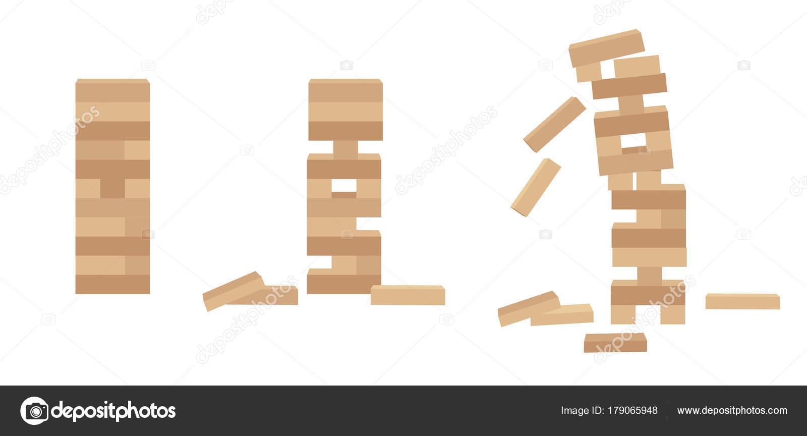 Vector Jenga Conjunto De Torre Juego Jenga Juego De Madera Del