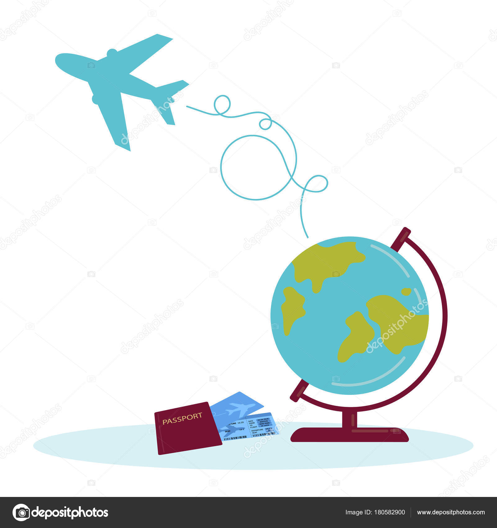 Travel Illustration Globe Airplane Route Path Passport Tickets Earth