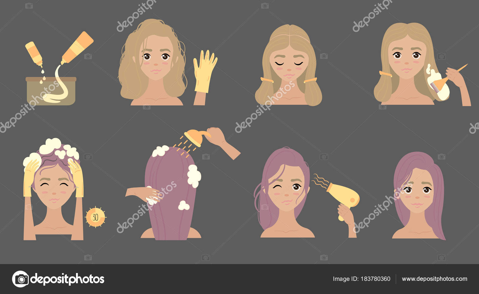 Steps to change hair color. Hair styling. — Stock Vector © helga ...