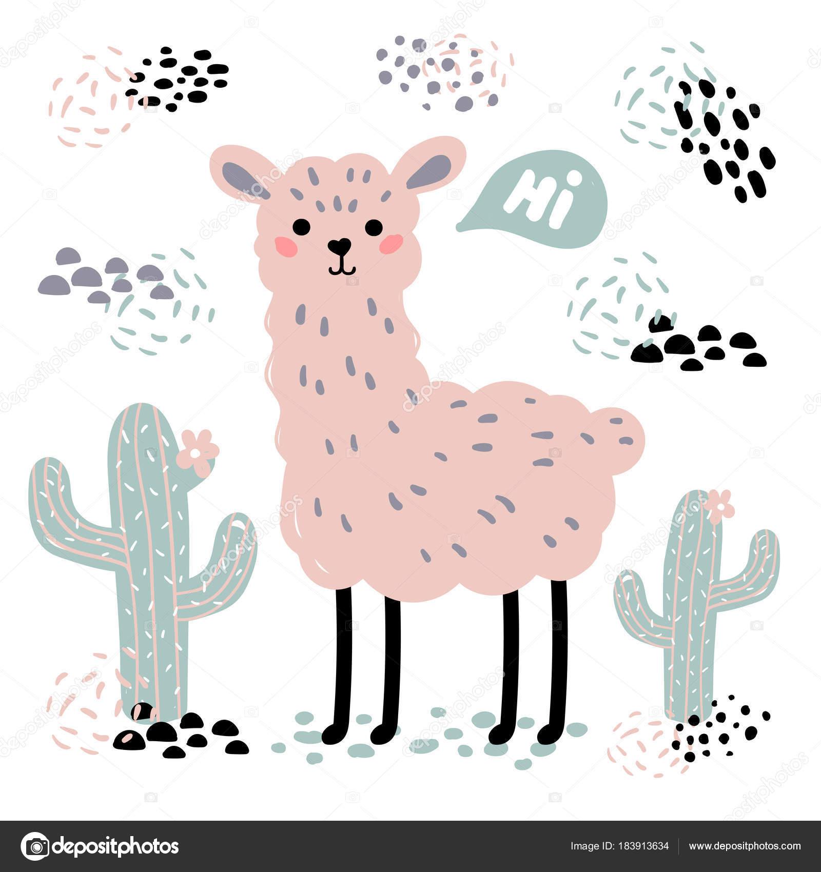 Rosa dibujos animados alpaca lama, cactus y Hola texto — Vector de ...
