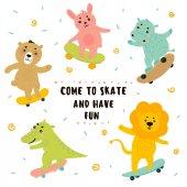 Photo Crocodile, lion, bunny, bear, hippo skateboarding