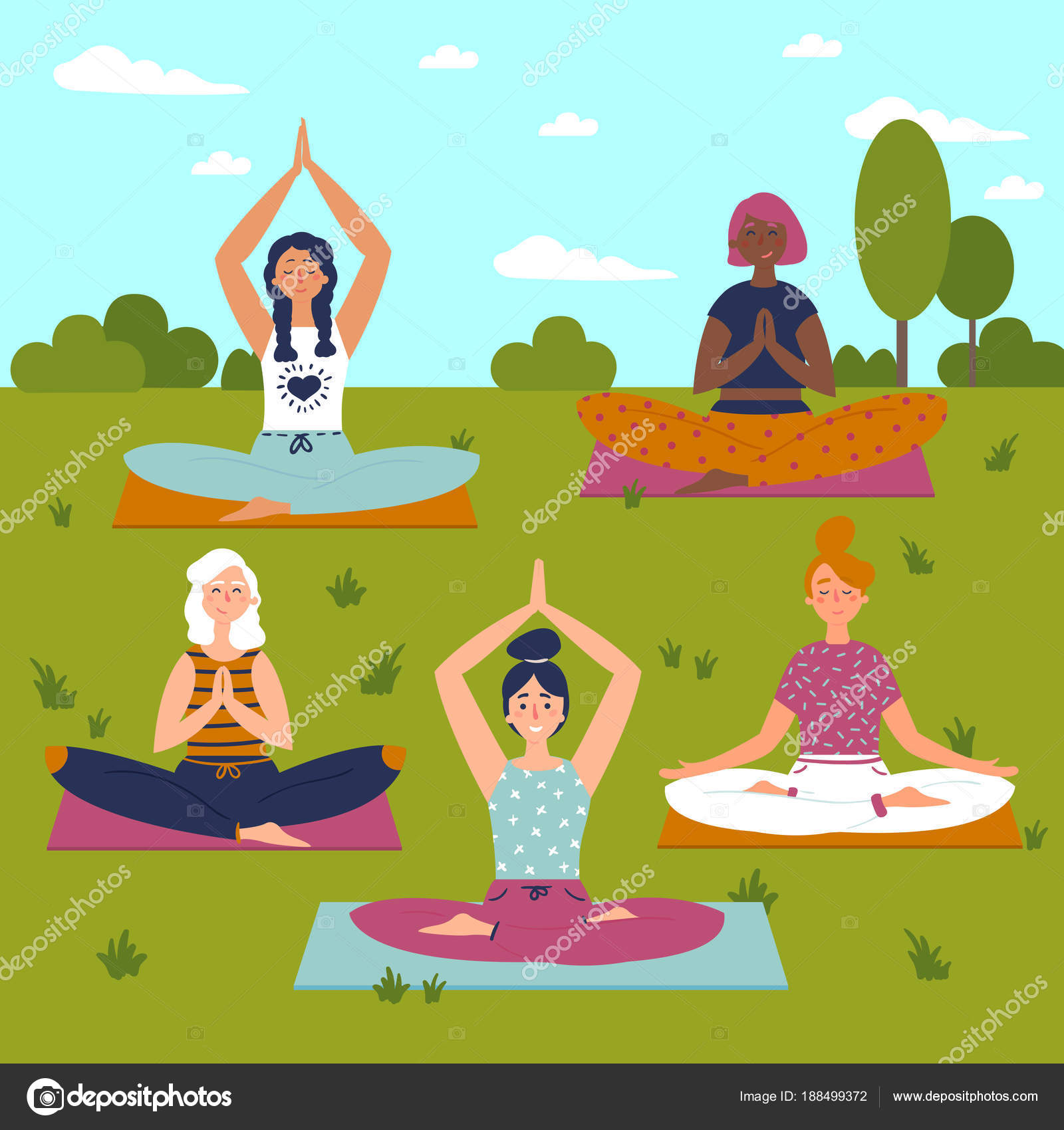 Set with beautiful women in lotus pose of yoga stock vector vector set of exercises illustration five women sit on yoga mats outdoors helthy lifestyle sun sky greeting yoga class vector m4hsunfo