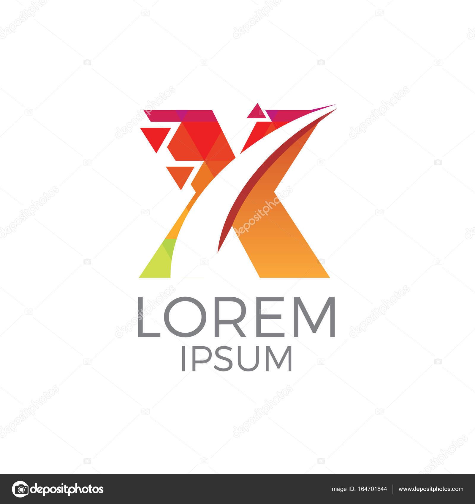 Modern And Colorful Letter X Geometric Stock Vector C Andiasmara 164701844