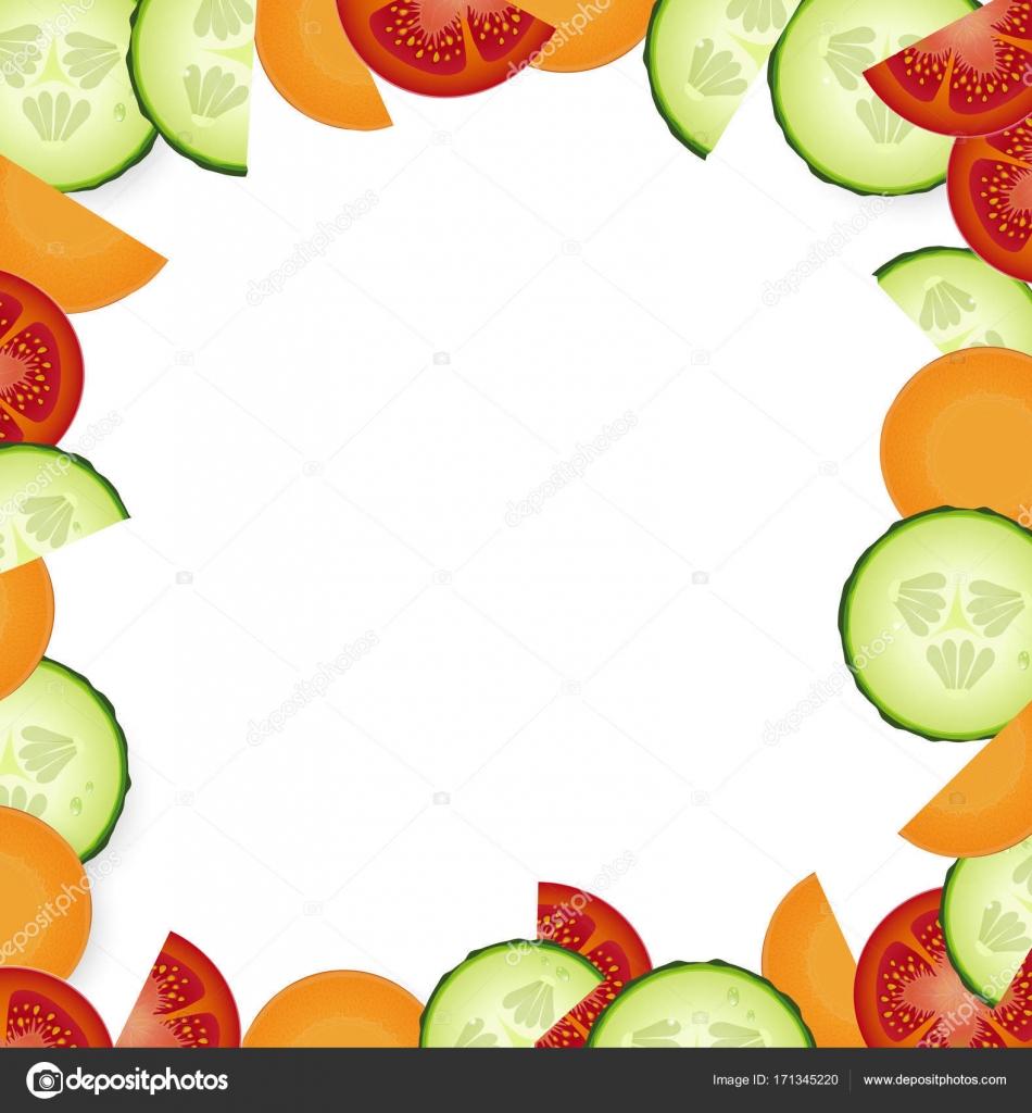 Frame de vegetais com fatias de tomate, pepino e cenoura no fundo ...