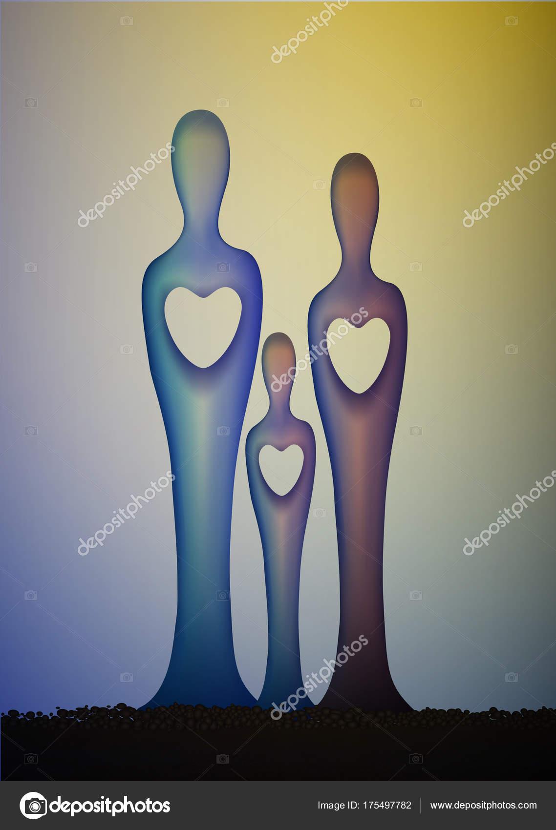 Unità Della Famiglia Tre Scultura Concetto Di Famiglia Idea Di