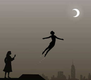 Peter Pan and Wendy on the roof, peter pan flies, couple,