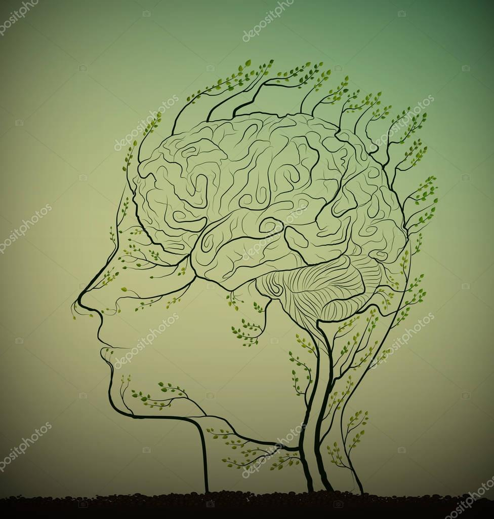 man brain looks like tree with green branches, herbal medicine against brain disease, plant icon concept,