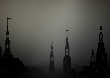 Dark medieval city background with towers,