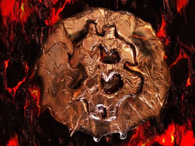 Bitcoin metal gold coin is melting on red-hot surface. It means hot price or value and high exchange rate of crypto currency on market. It also means crisis and fall to lose investments due to financial risk