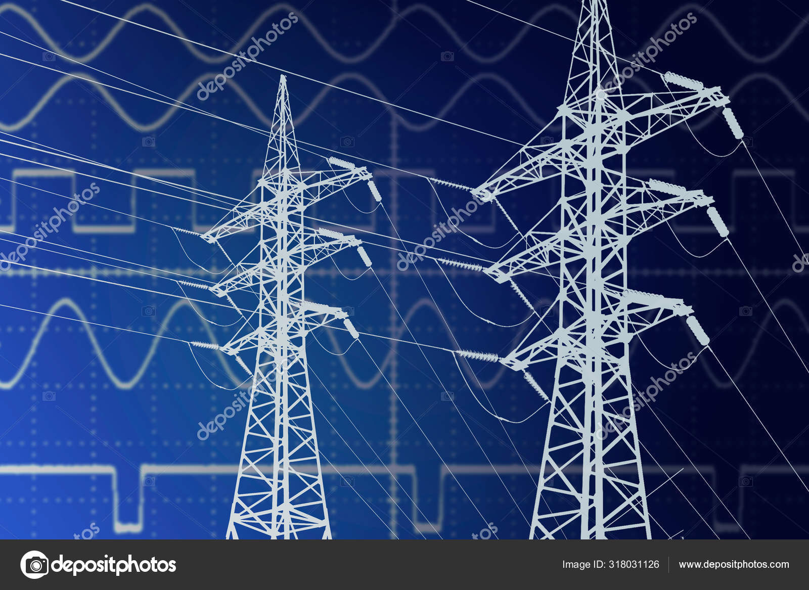 Electric Power Transmission Line Towers On Current Sinusoidal Di Stock Photo C Brother Grin 318031126