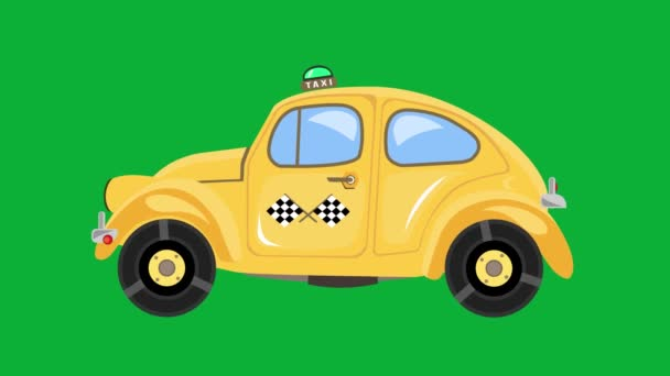 Taxi car animation on green screen. Retro yellow automobile driving on chroma key background. Fast moving bouncing auto in 4K video and time remapping friendly