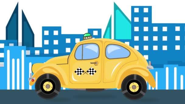 Taxi auto animace na pozadí městské krajiny v denním čase. Retro žlutý automobil projíždí ulicí. Rychle se pohybující skákající auto v Hd videa a čas přeskupování přátelské