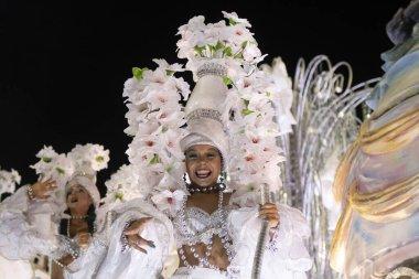 Rio, Brazil - February 23, 2020: parade of the samba school Grande Rio, at the Marques de Sapucai Sambodromo