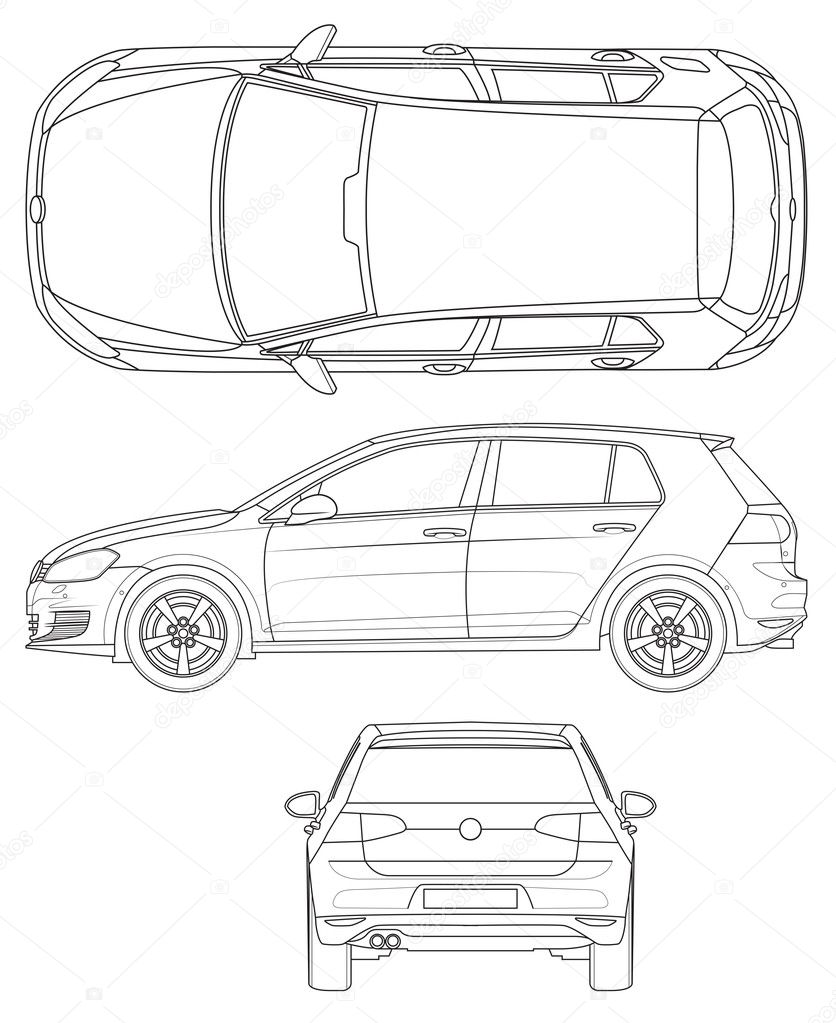 Gliederung Vorlage Auto — Stockvektor © Lukaves #128601876