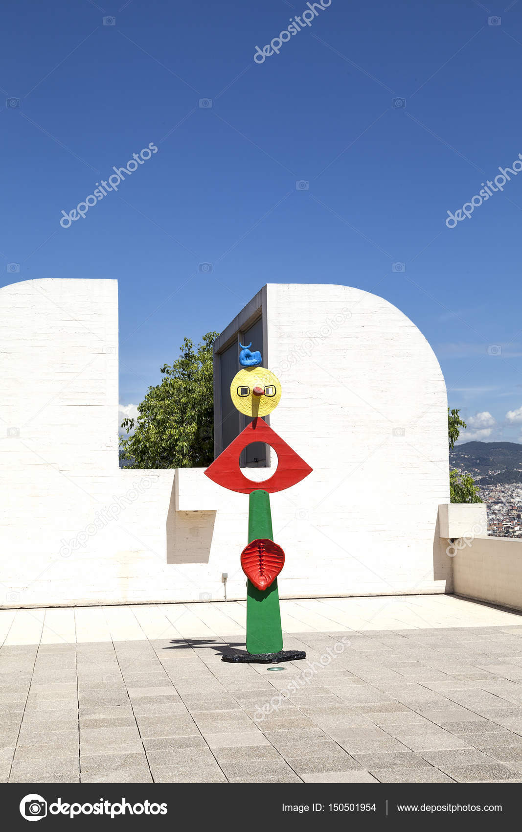 Miro sculpture on the terrace of the Foundation Joan Miro, Barcelona ...