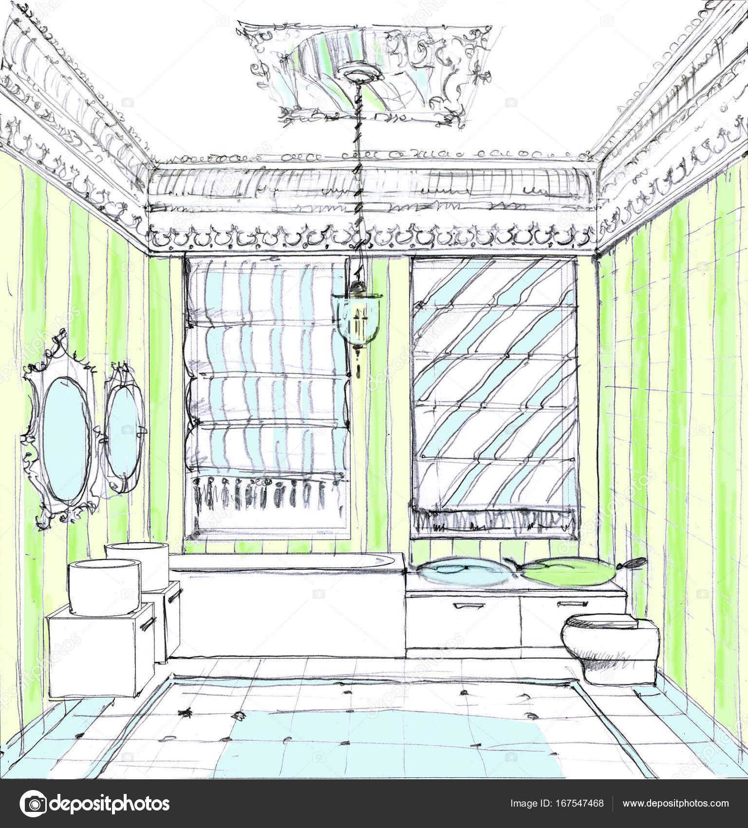 Нарисованный интерьер ванной комнаты интерьер оформление ванная комната