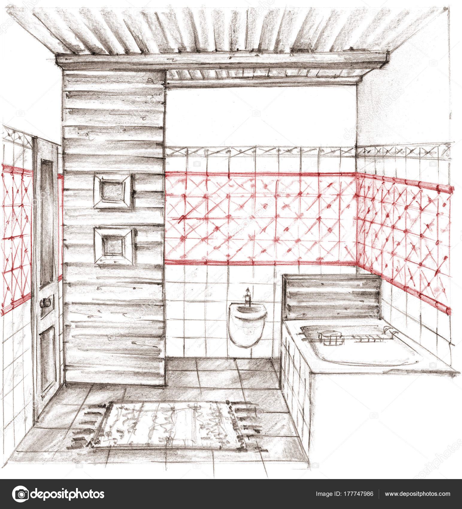Pencil drawing of a classic bathroom interior stock photo