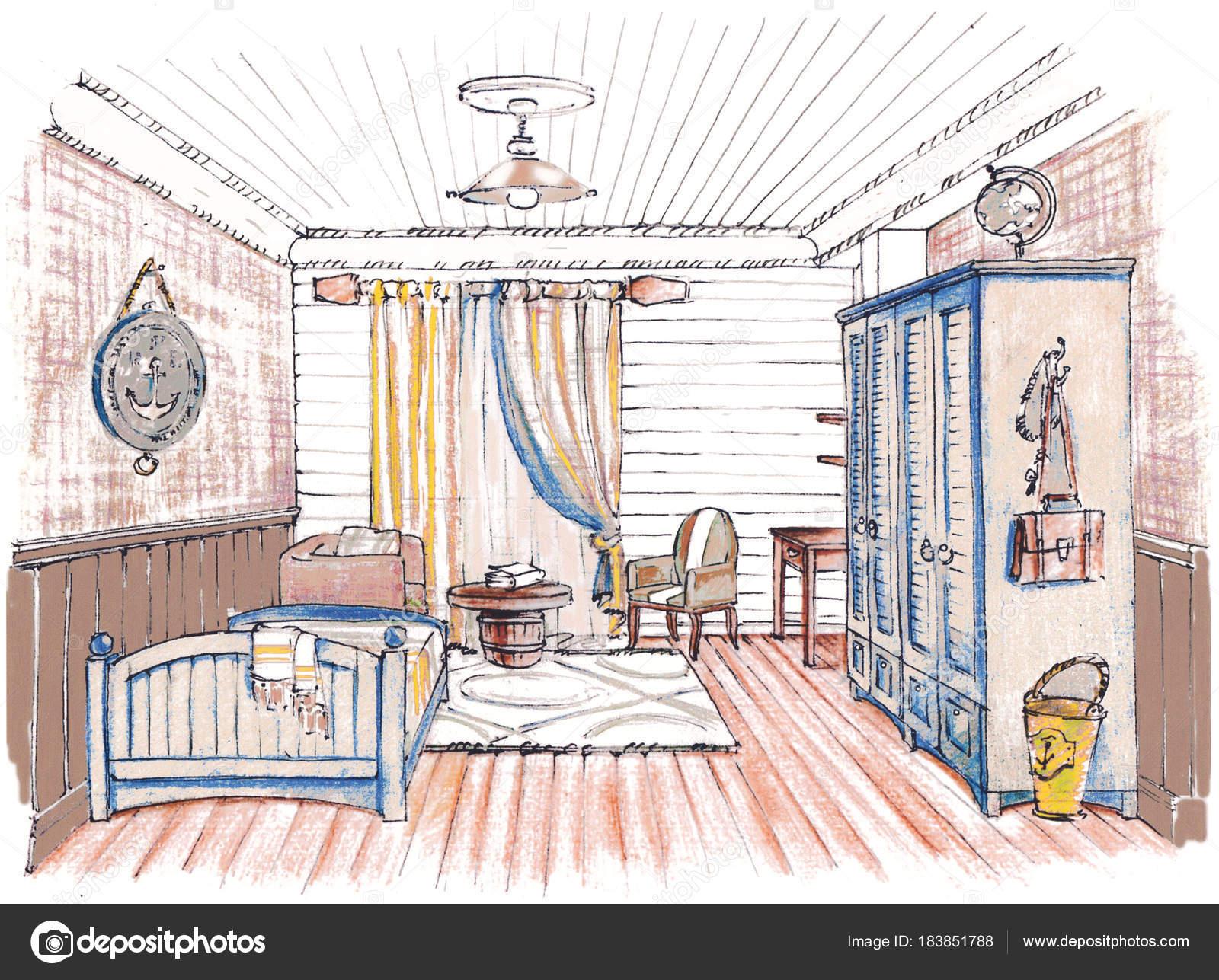 Schizzo disegnato a mano di un interno di camera da letto bambini ...
