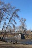 Ponte moderno sul fiume alla Sandy Beach Park di Calgary