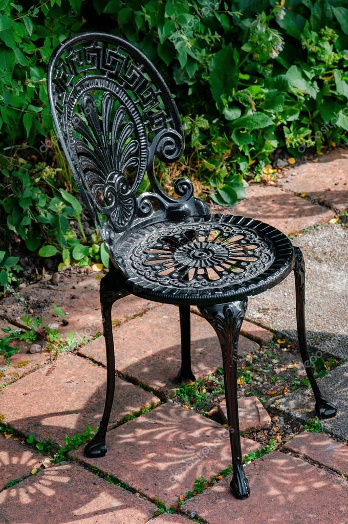 Wrought Cast Iron Chair In The Garden Black Color U2014 Stock Photo