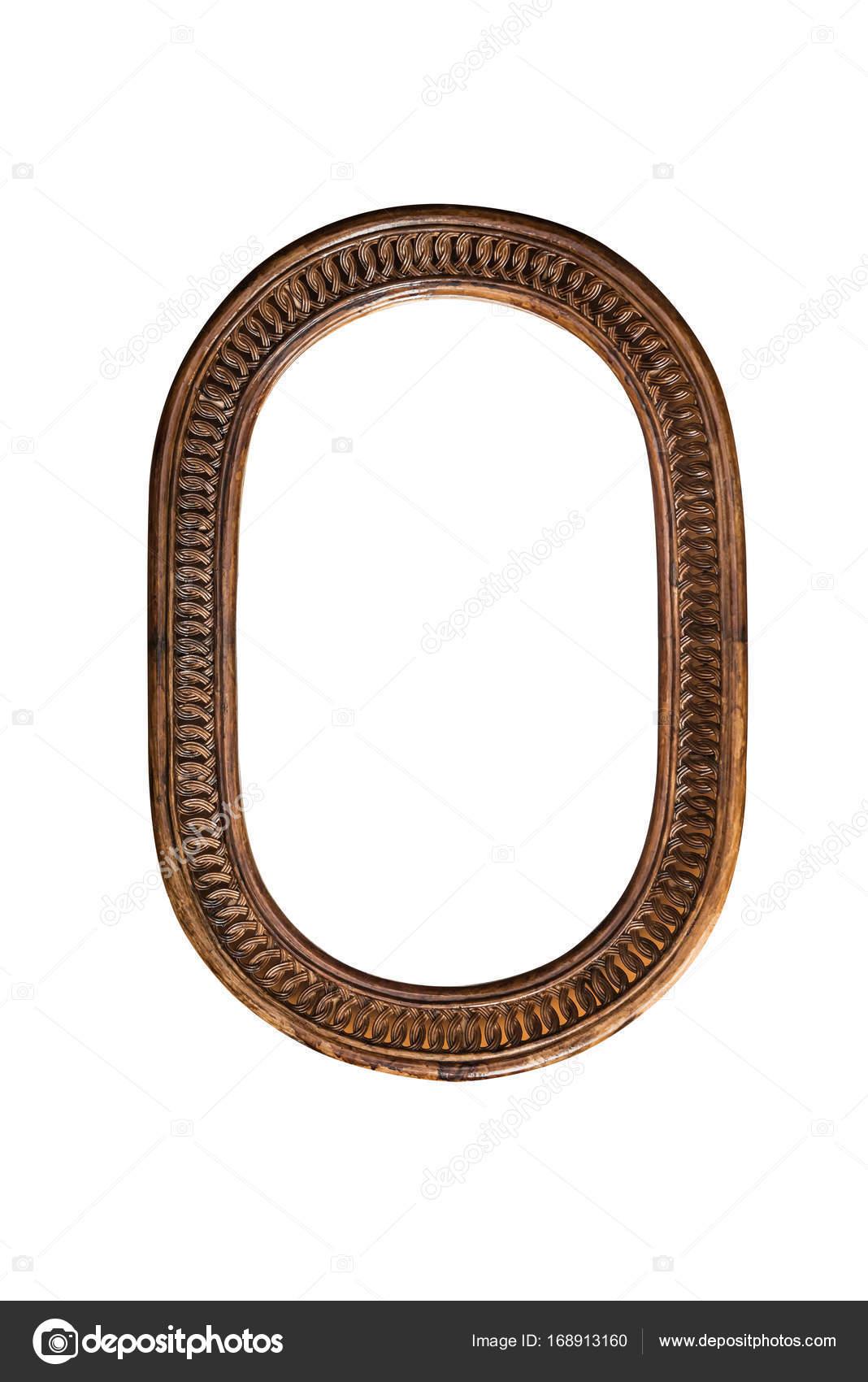 Holz Spiegel Rahmen Grenze alte Oval braun auf weißem Hintergrund ...