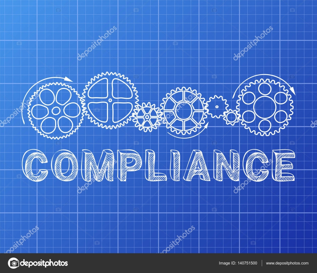 Compliance blueprint sign stock vector eyematrix 140751500 compliance word with gear wheels on blueprint background illustratio vector by eyematrix malvernweather Gallery