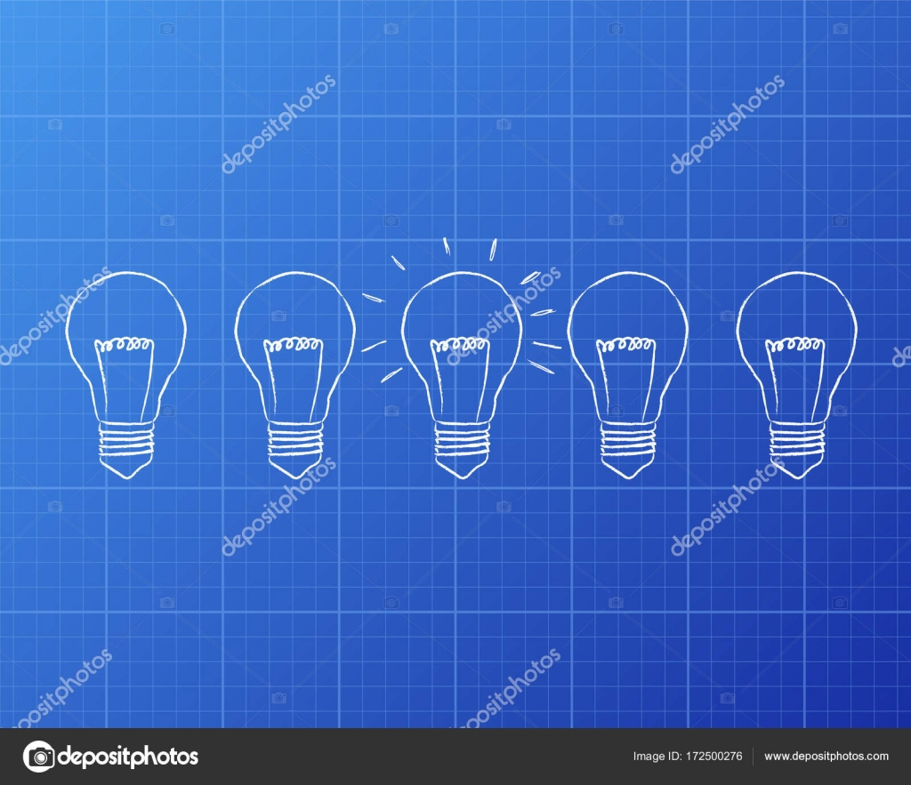 Light Bulbs Blueprint Stock Vector Eyematrix 172500276 Diagram Of Incandescent Bulb