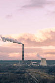 Heat power plant on autumn sunset