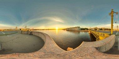 Palace bridge. St. Petersburg. White nights. Sunrise. Russia.