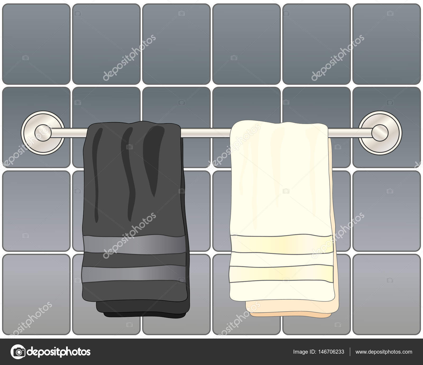 a vector illustration in eps 10 format of black and white bathroom towels on a metallic towel rail with gray ceramic tiles vector van sandesh1264