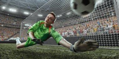 Soccer goalkeeper catches a ball