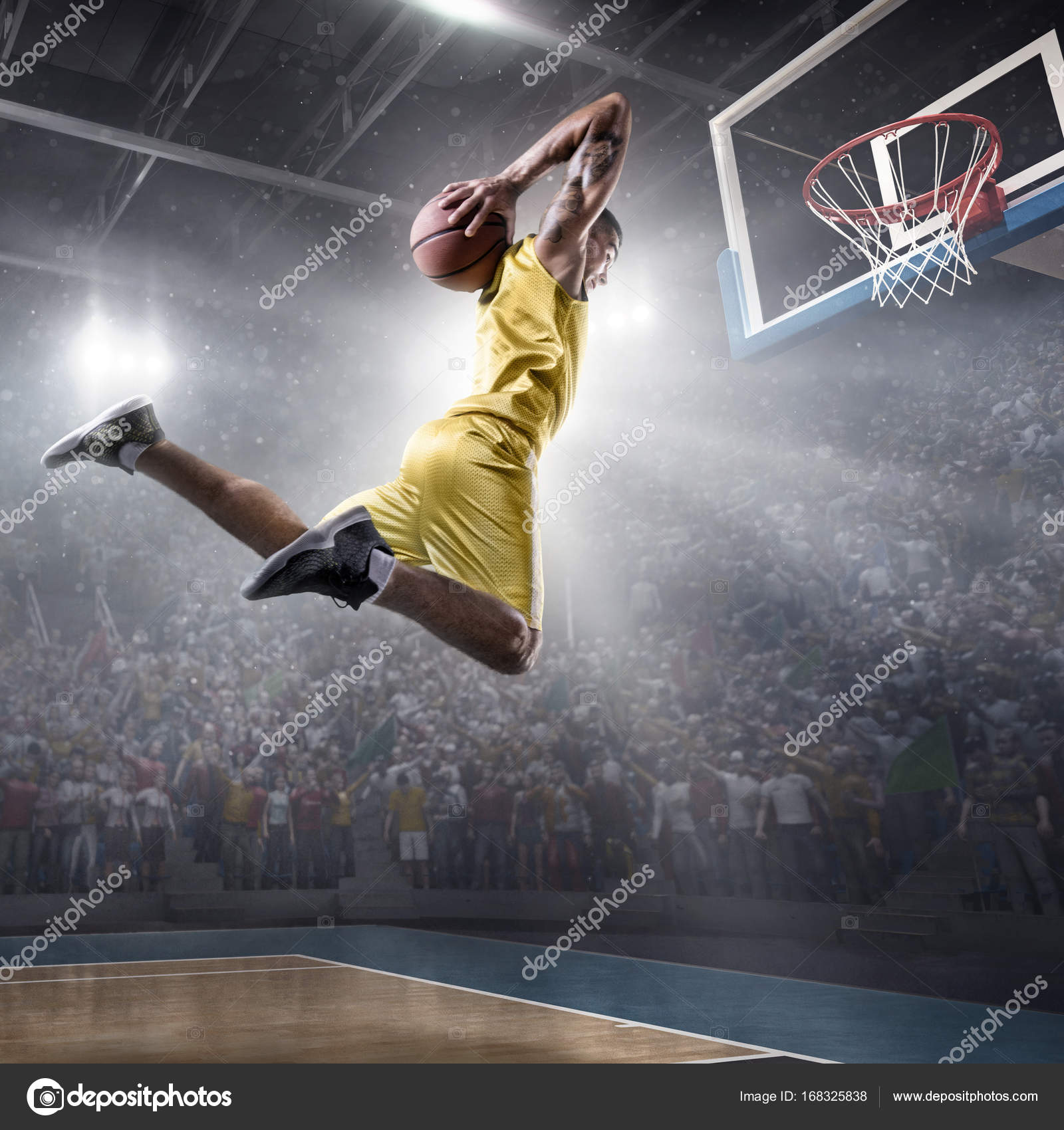 basketball player makes slam dunk stock photo alexkravtsov