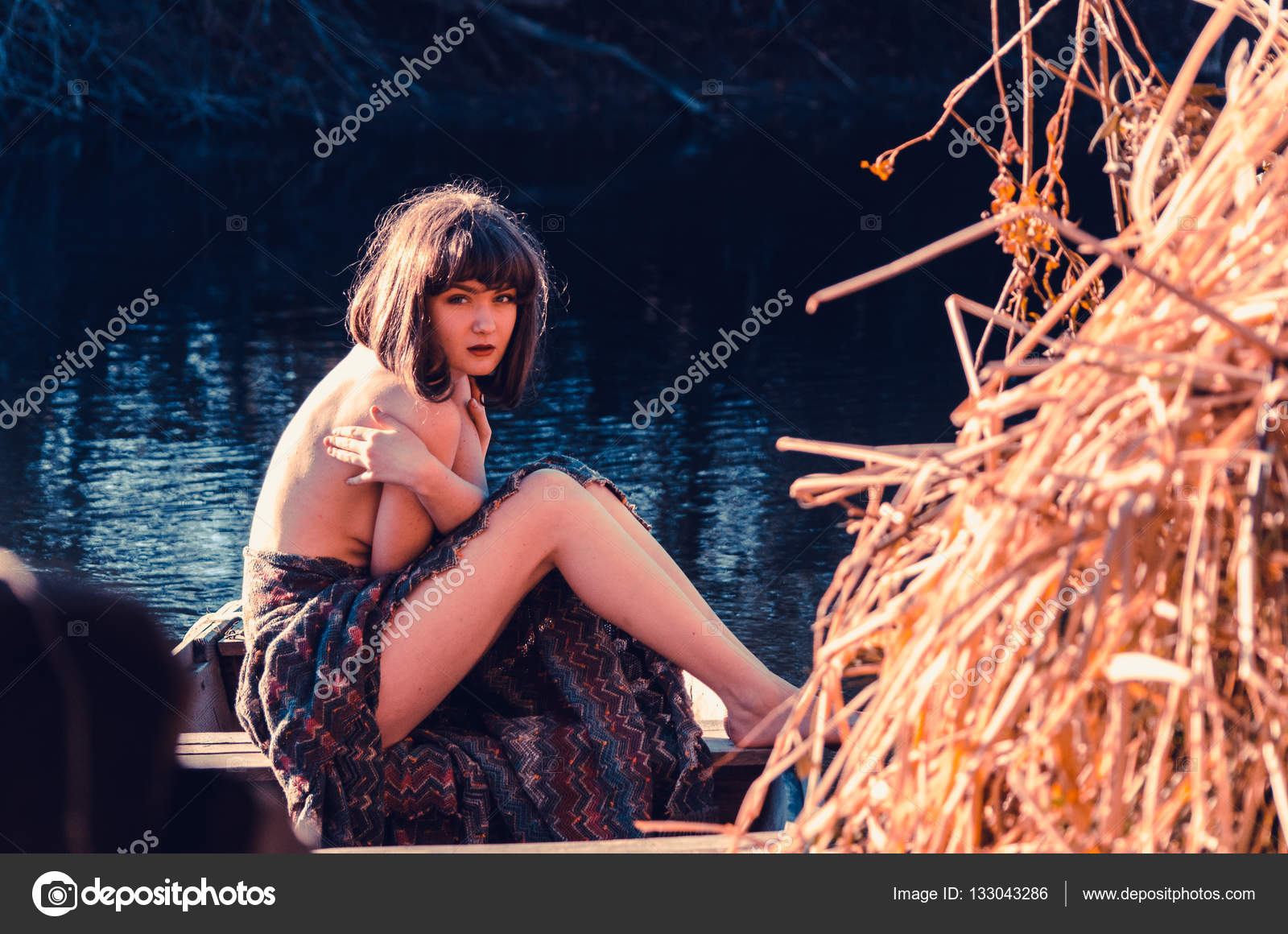 Young Sexy Woman Boat Sunset Girl Has Flower Wreath Her