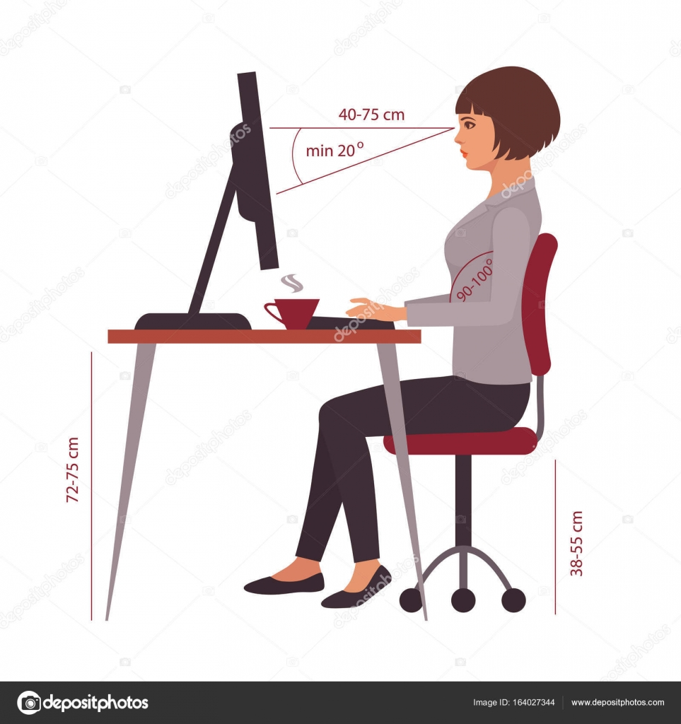 Correct Sitting Position Office Desk Posture Stock