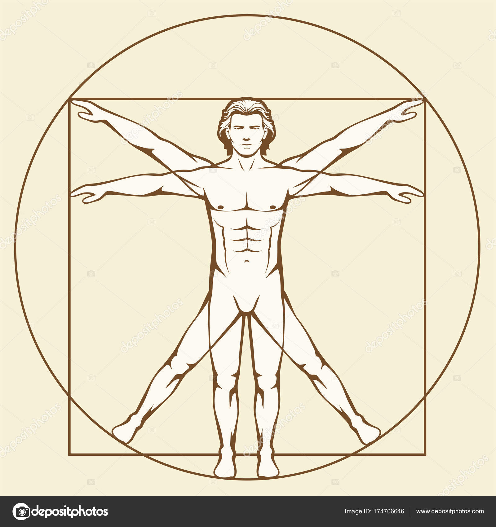 Leonardo Da Vinci Vetruvian Man — Stockvektor © eveleen #174706646