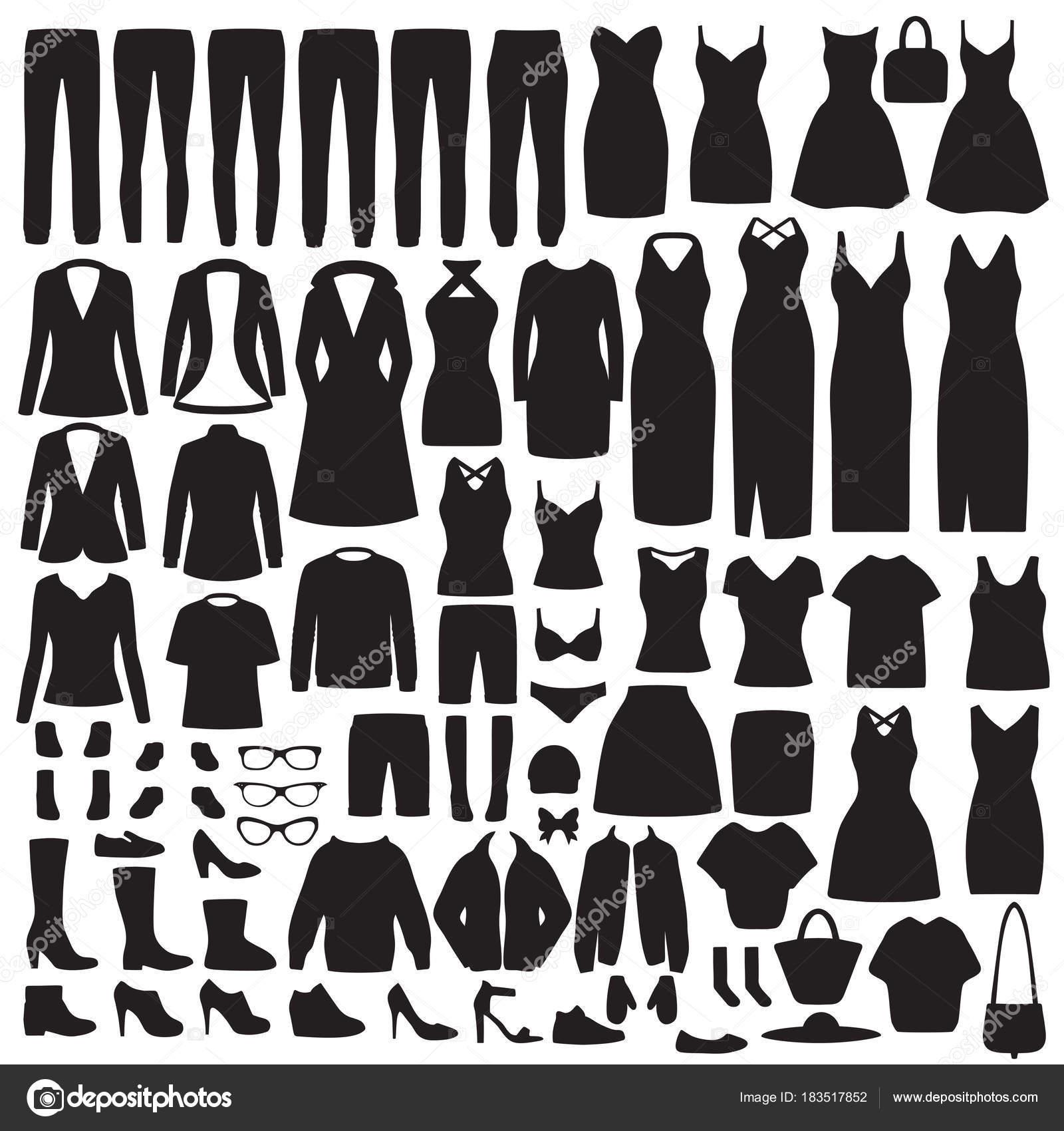 6888a7003 Ilustração Vetor Silhueta Roupas Moda Mulheres Conjunto Vestido ...