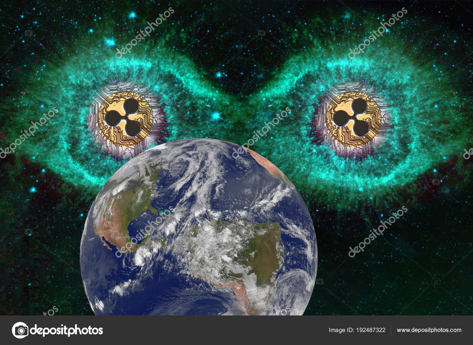 Große Augen Die Münzen Der Ripple Im Raum Stockfoto Shahurin
