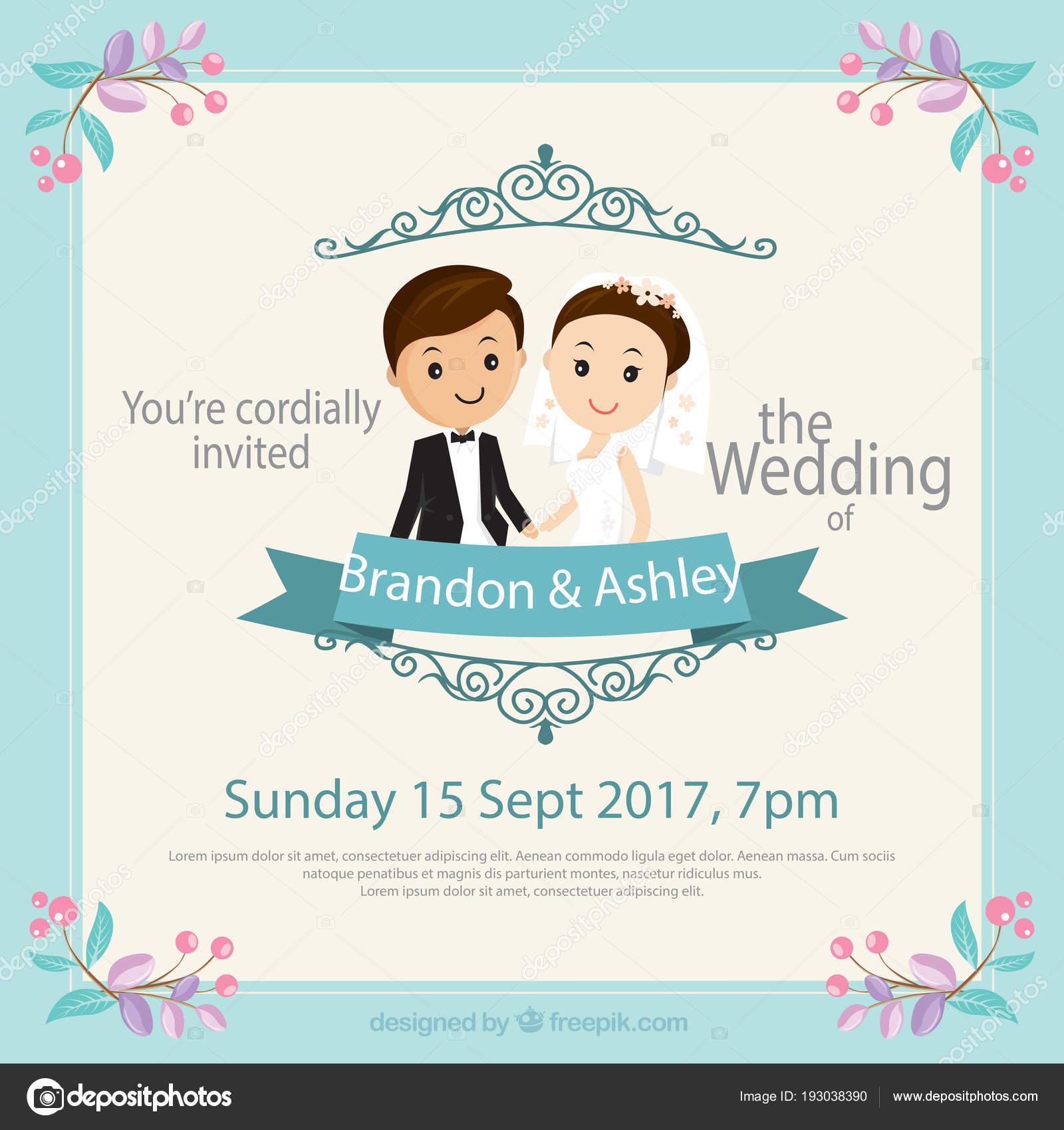 Vector Tarjetas De Matrimonio Retrato Tarjeta Invitación