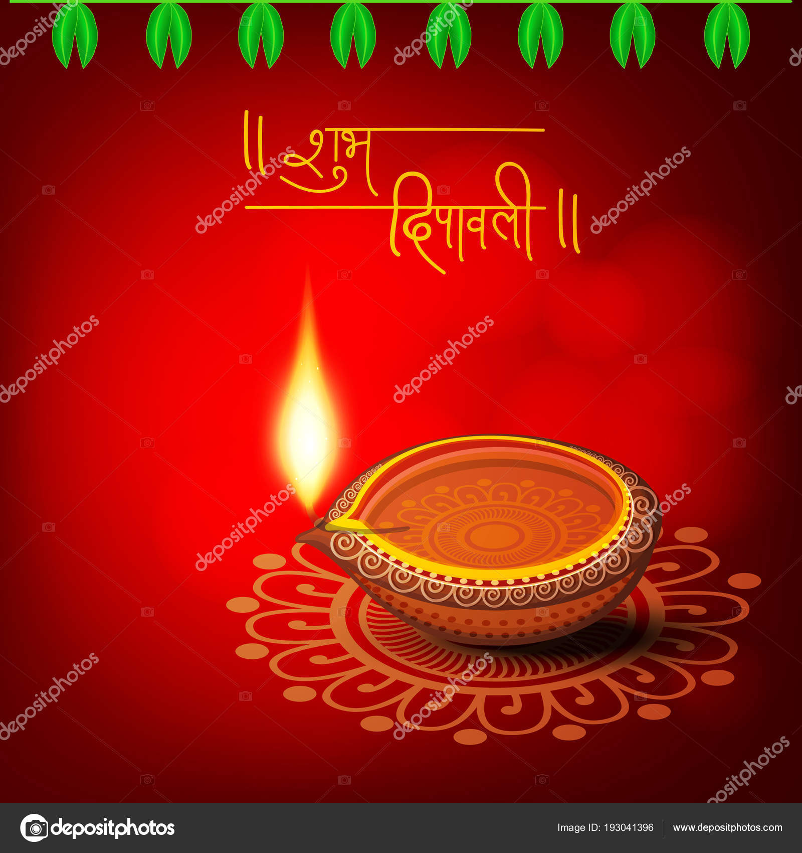 Happy Diwali Celebration Hindi Text Shubh Diwali Greeting Card